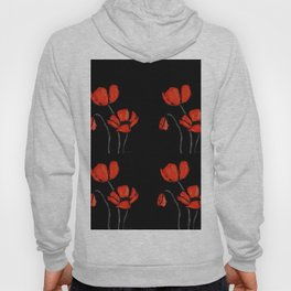 Red Poppies On Black by Sharon Cummings Hoody