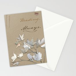 In love with reading - collage of leaves from old book pages Stationery Cards