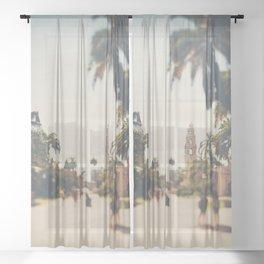 walking through Balboa Park in San Diego, California Sheer Curtain