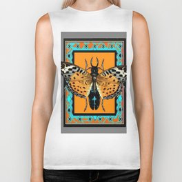 CONTEMPORARY  BUTTERFLY GREY STAG-HORNED BEETLES Biker Tank