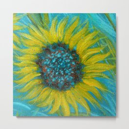 Sunflowers on Turquoise II Metal Print