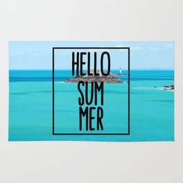 Hello Summer Typography with Turquoise Ocean Rug