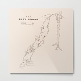 1853 Map of Lake George (sepia) Metal Print