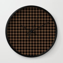 Classic Brown Coffee Country Cottage Summer Buffalo Plaid Wall Clock
