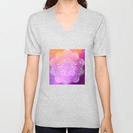 mandala on pink texture Unisex V-Neck