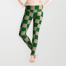 Tan Brown and Cadmium Green Checkerboard Leggings