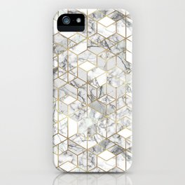 White marble geomeric pattern in gold frame iPhone Case
