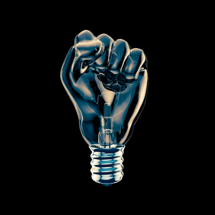 Protest fist light bulb / 3D render of glass light bulb in the form of clenched fist Duvet Cover
