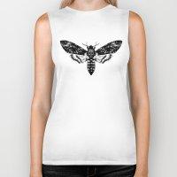 moth Biker Tanks featuring Moth by Jimmy Breen
