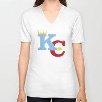 kansas city V-neck T-shirts featuring Kansas City Sports Red & Blue by Haley Jo Phoenix