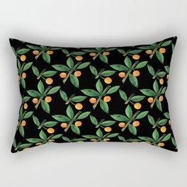 Black green orange watercolor berries leaves pattern Rectangular Pillow