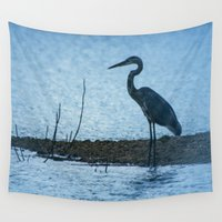fishing Wall Tapestries featuring Great Blue Heron Fishing by Roger Wedegis