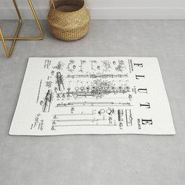 Flute Vintage Patent Flutist Flautist Drawing Print Rug