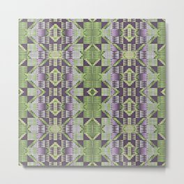Violet Purple Pink Lime Green Native American Indian Mosaic Pattern Metal Print