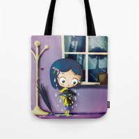 coraline Tote Bags featuring It's Coraline not Caroline. by Irene Dose