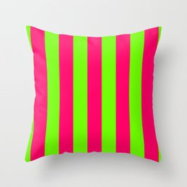 Bright Neon Green and Pink Vertical Cabana Tent Stripes Throw Pillow