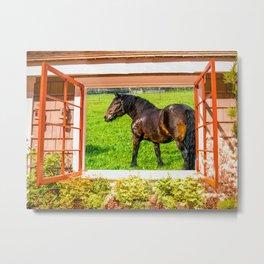 Horse Farm Cottage Window View Metal Print