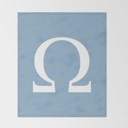 Greek letter Omega sign on placid blue background Throw Blanket