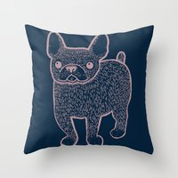 french bulldog Throw Pillows featuring French Bulldog by Syrupea