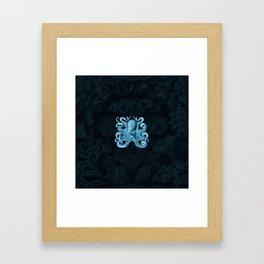 Octopus1 (Blue, Square) Framed Art Print