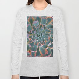 GREY-PINK ECHEVERIA SUCCULENT DESERT PLANT Long Sleeve T-shirt