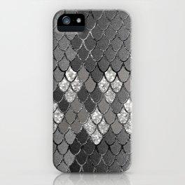 Mermaid Scales Silver Gray Glitter Glam #1 #shiny #decor #art #society6 iPhone Case