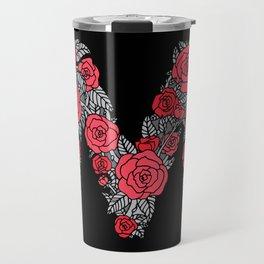 Floral Type - Letter M - Black and Blush Travel Mug