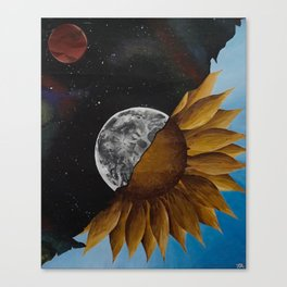 Space And Sunflowers Canvas Print
