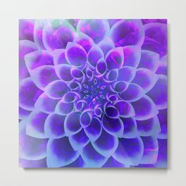Mindfulness Purple-Pink and Blue Abstract Flower Metal Print
