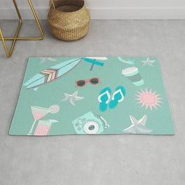 cute girly pink teal turquoise blue starfish sufer summer beach life Rug