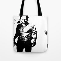 rick grimes Tote Bags featuring Rick Grimes by Black And White Store
