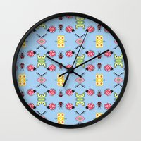 bugs Wall Clocks featuring Bugs by Lena Photo Art
