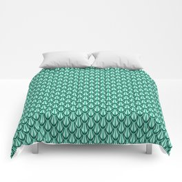 Gleaming Green Metal Scalloped Scale Pattern Comforters