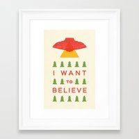 i want to believe Framed Art Prints featuring I Want To Believe by KOMBOH