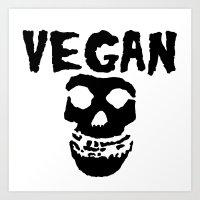 misfits Art Prints featuring vegan misfits by sQuoze