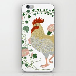 Rooster and morning glory iPhone Skin