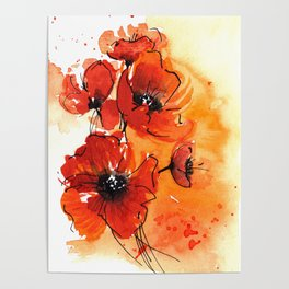Red Poppy Flowers Watercolor Painting Poster