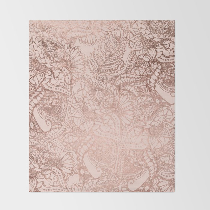 Modern Rose Gold Floral Illustration On Blush Pink Throw Blanket By Cool Blush Pink Throw Blanket