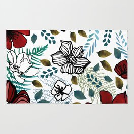 Wild Red Flowers Rug