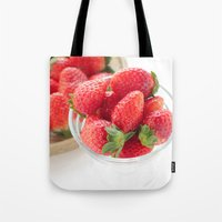 strawberry Tote Bags featuring strawberry by yumehana design fine art photography