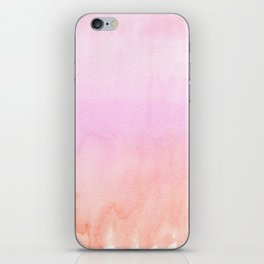 Abstract blush pink coral orange watercolor ombre iPhone Skin