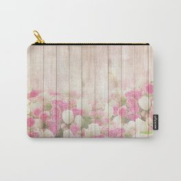 Beautiful Pink Tulip Floral Vintage Shabby Chic Carry-All Pouch