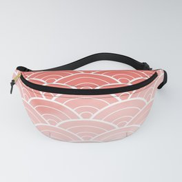 Coral Ombre Japanese Waves Pattern (Pantone Living Coral) Fanny Pack