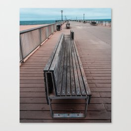 Coney Island Pier Bench Canvas Print