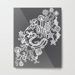 Pieces of China: Day of the Dragon (Dark Gray) Metal Print