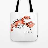 lobster Tote Bags featuring Lobster  by Julie Song Ink