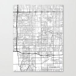 Chandler Map, Arizona USA - Black & White Portrait Canvas Print