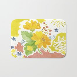 Daisy with Yellowed Green Bath Mat