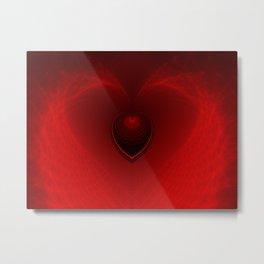 Heart Fractal Art - Red & Black Heart- Abstract Fractal Art- Boodwha Metal Print