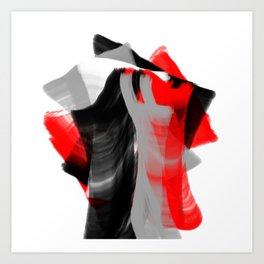 dancing abstract red white black grey digital art Art Print